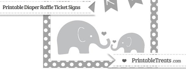 Free Pastel Grey Polka Dot Elephant 8×10 Diaper Raffle Ticket Sign
