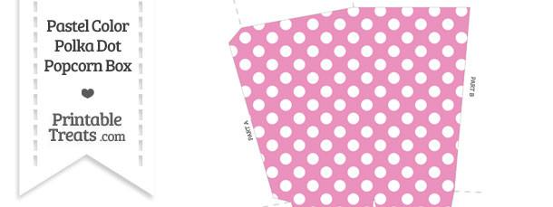 Pastel Pink Polka Dot Popcorn Box \u2014 Printable Treats