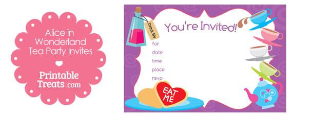 Printable Alice in Wonderland Tea Party Invitations \u2014 Printable