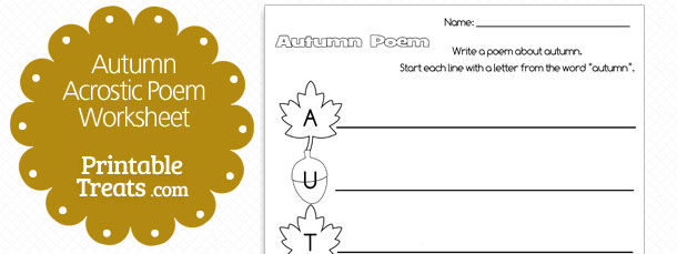 Printable Autumn Acrostic Poem \u2014 Printable Treats