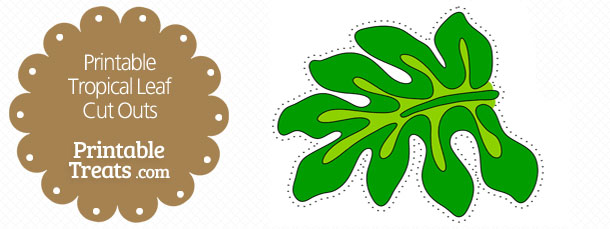 Printable Dark Green Tropical Leaf Cut Outs \u2014 Printable Treats