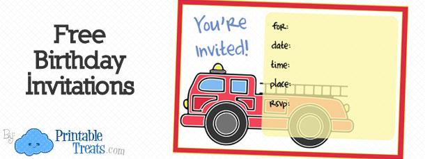 Printable Fire Truck Invitations \u2014 Printable Treats