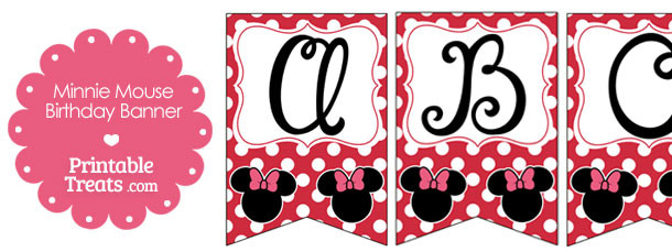 Printable Minnie Mouse Happy Birthday Banner Letters A-M \u2014 Printable