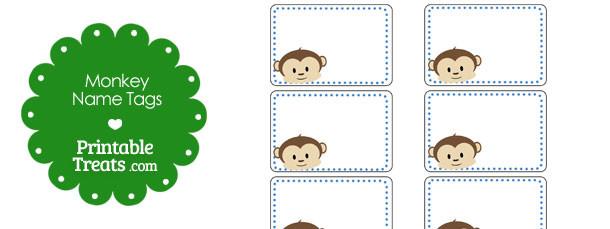 Printable Monkey Name Tags \u2014 Printable Treats