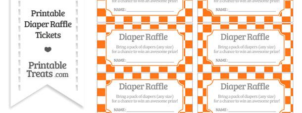 Free Pumpkin Orange Checker Pattern Diaper Raffle Tickets