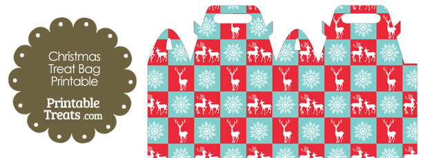 Reindeer and Snowflakes Treat Bag \u2014 Printable Treats