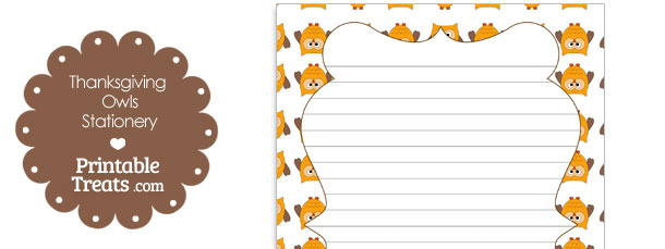 Thanksgiving Owls Stationery Paper \u2014 Printable Treats