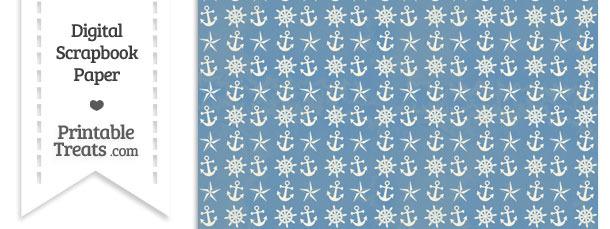 Vintage Blue Nautical Digital Scrapbook Paper \u2014 Printable Treats