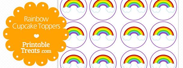 Free Rainbow Cupcake Toppers \u2014 Printable Treats