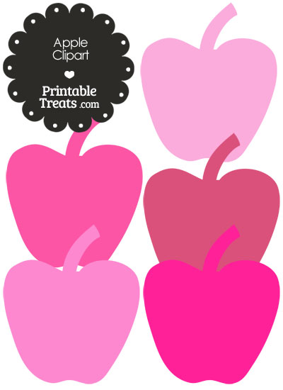Apple Clipart in Shades of Pink \u2014 Printable Treats