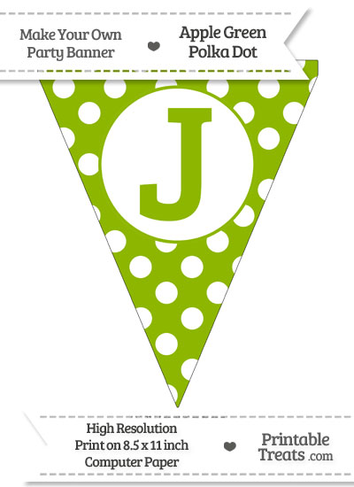 Apple Green Polka Dot Pennant Flag Capital Letter J \u2014 Printable
