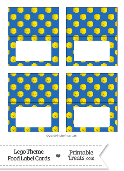 Blue Lego Theme Food Label Buffet Cards \u2014 Printable Treats