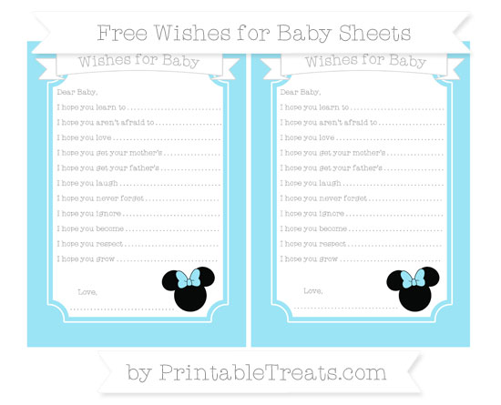 Pastel Aqua Blue Minnie Mouse Wishes for Baby Sheets \u2014 Printable