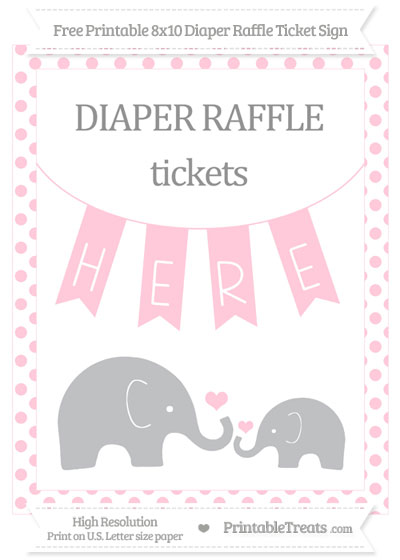 Free Pink Dotted Elephant 8×10 Diaper Raffle Ticket Sign \u2014 Printable