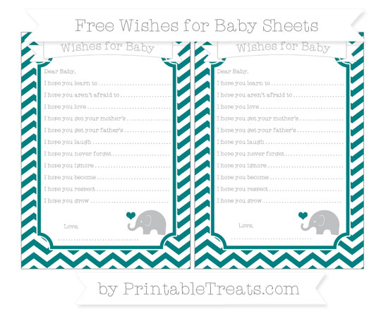 Teal Chevron Baby Elephant Wishes for Baby Sheets \u2014 Printable Treats