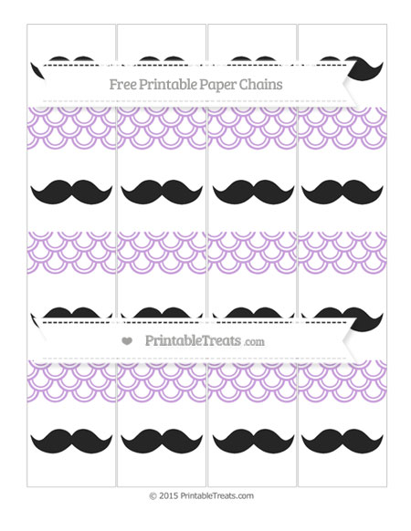 Wisteria Fish Scale Pattern Mustache Paper Chains \u2014 Printable Treats