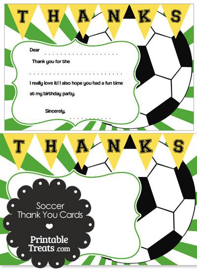 Green Sunburst Soccer Thank You Cards \u2014 Printable Treats