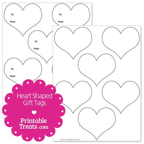 Heart Shaped Gift Tags Template \u2014 Printable Treats