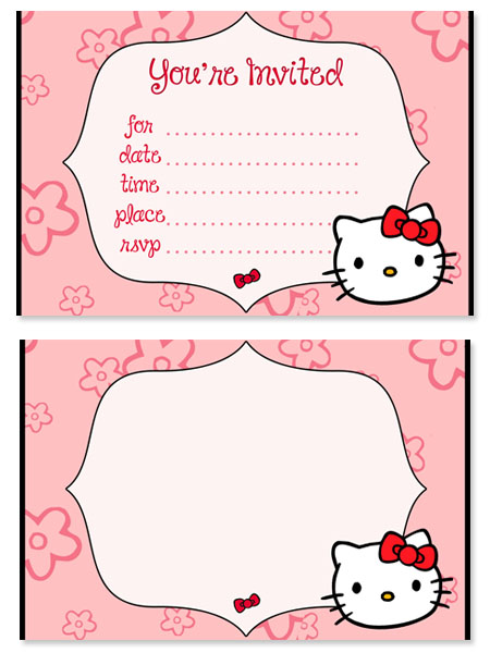 Hello Kitty Birthday Party Invitations for Kids \u2014 Printable Treats