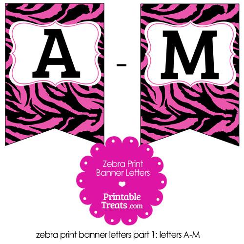 Hot Pink Zebra Print Bunting Banner Letters A-M \u2014 Printable Treats