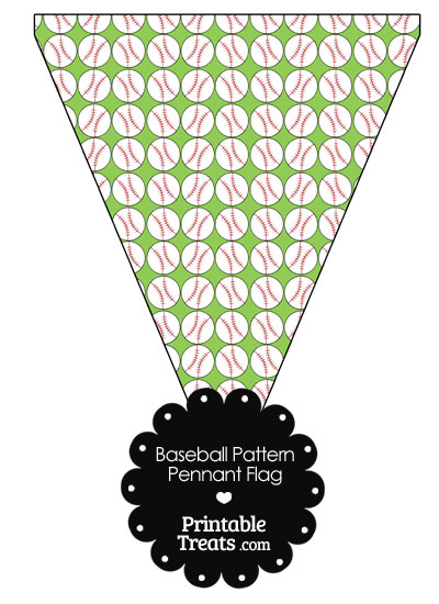 Light Green Baseball Pattern Pennant Banner Flag \u2014 Printable Treats