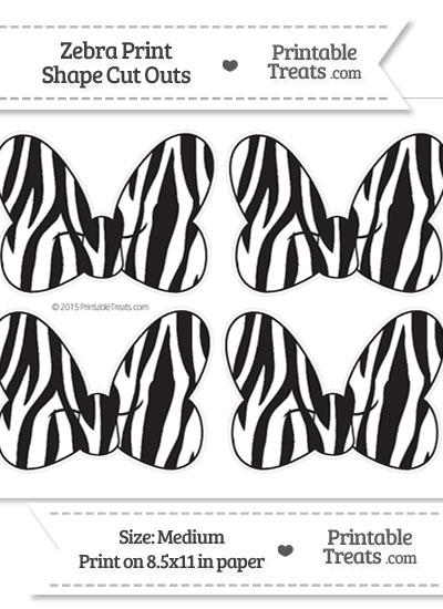Medium Sized Zebra Print Minnie Mouse Bow Cut Outs \u2014 Printable