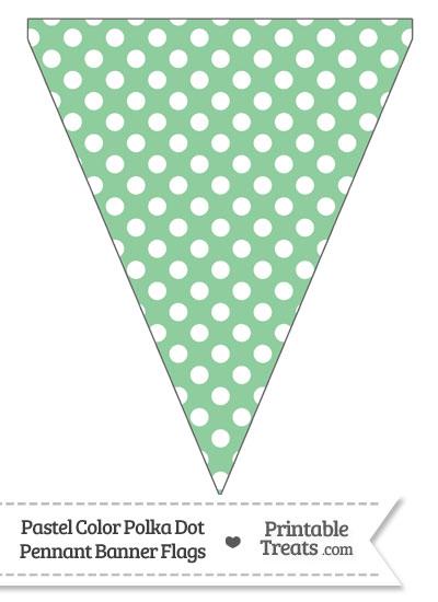 Pastel Green Polka Dot Pennant Banner Flag \u2014 Printable Treats