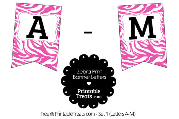 Pink and White Zebra Print Bunting Banner Letters A-M \u2014 Printable