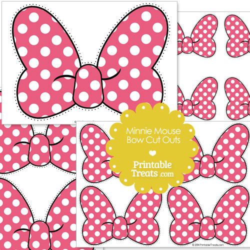 Pink Minnie Mouse Bow Cut Outs \u2014 Printable Treats