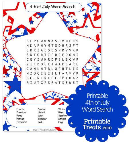Printable 4th of July Word Search \u2014 Printable Treats