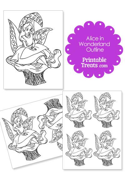 Printable Alice in Wonderland on a Mushroom Outline \u2014 Printable