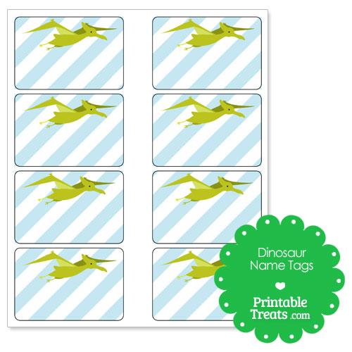 Printable Green Pterodactyl Dinosaur Name Tags \u2014 Printable Treats