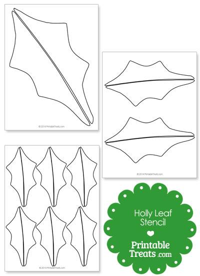 Printable Holly Leaf Stencil \u2014 Printable Treats
