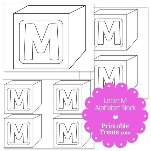 Block Letter M Stencil Printable towelbars