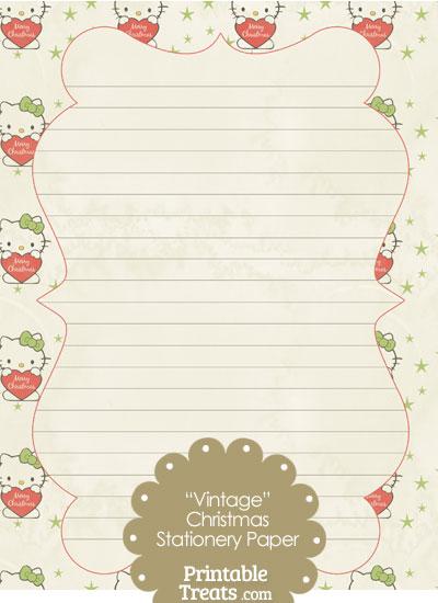 Vintage Christmas Hello Kitty Stationery Paper \u2014 Printable Treats