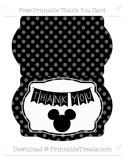 Black Dotted Pattern Mickey Mouse Thank You Card \u2014 Printable Treats - printable thank you cards black and white