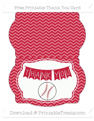 Cardinal Red Chevron Baseball Thank You Card \u2014 Printable Treats