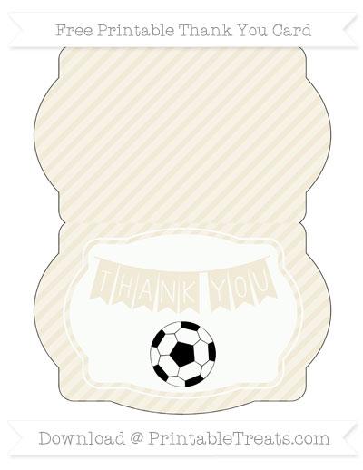 Eggshell Diagonal Striped Soccer Thank You Card \u2014 Printable Treats