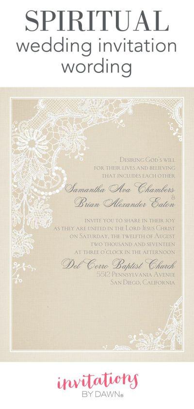 Spiritual Wedding Invitation Wording | Invitations by Dawn