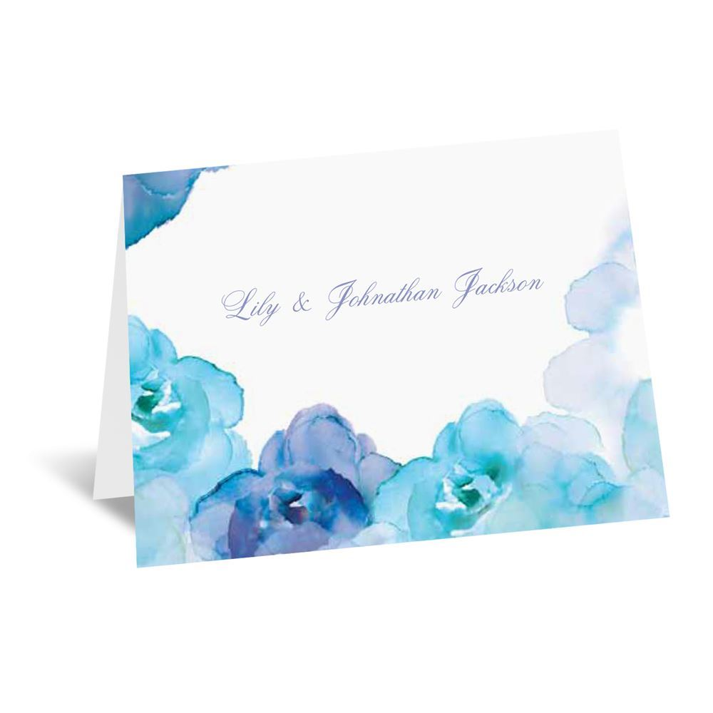 Watercolor Roses Thank You Card and Envelope