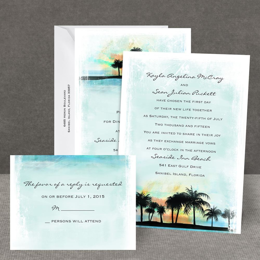 Irresistible Tropical Watercolors All One Wedding Invitations Cheap One Wedding Invitations One Invitation Invitations By Dawn All Fall All One Invitation Tropical Watercolors All wedding All In One Wedding Invitations