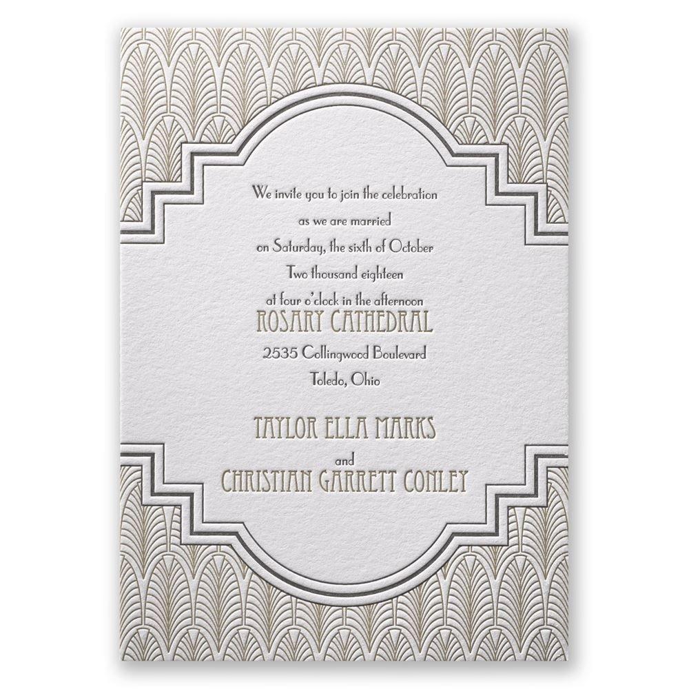 Fantastic Art Deco Frame Letterpress Invitation Art Deco Frame Letterpress Invitation Invitations By Dawn Art Deco Wedding Invitations Diy Art Deco Wedding Cards Uk wedding Art Deco Wedding Invitations