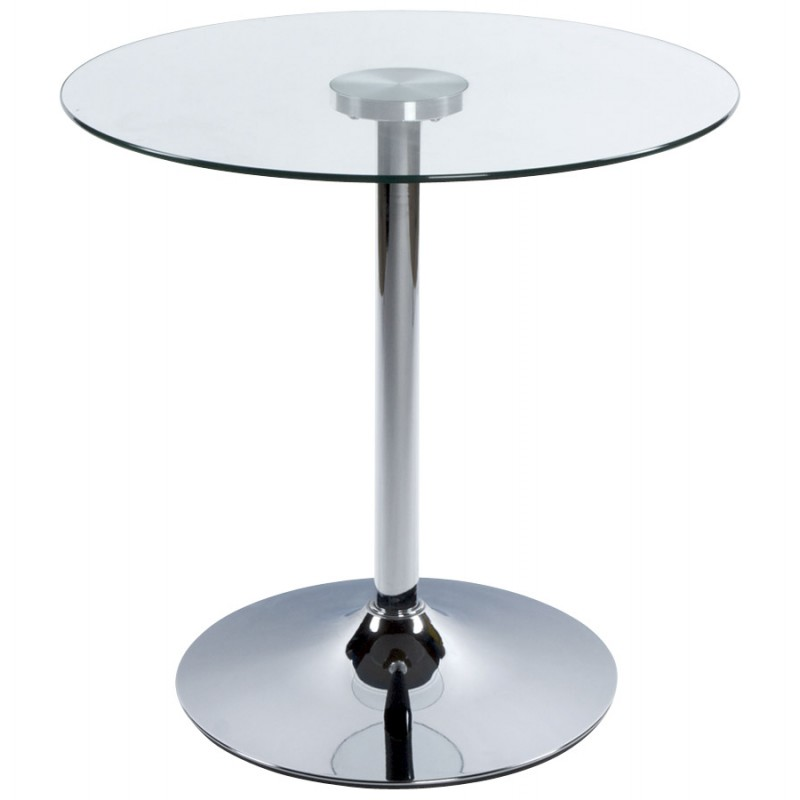 Design Bijzettafel Glas Table Ronde Vinyl En Métal Et Verre Trempé (transparent