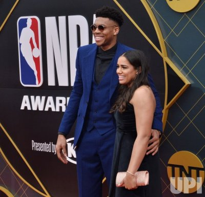 Giannis Antetokounmpo and Mariah Riddlesprigger attend the 2019 NBA Awards in Santa, Monica ...