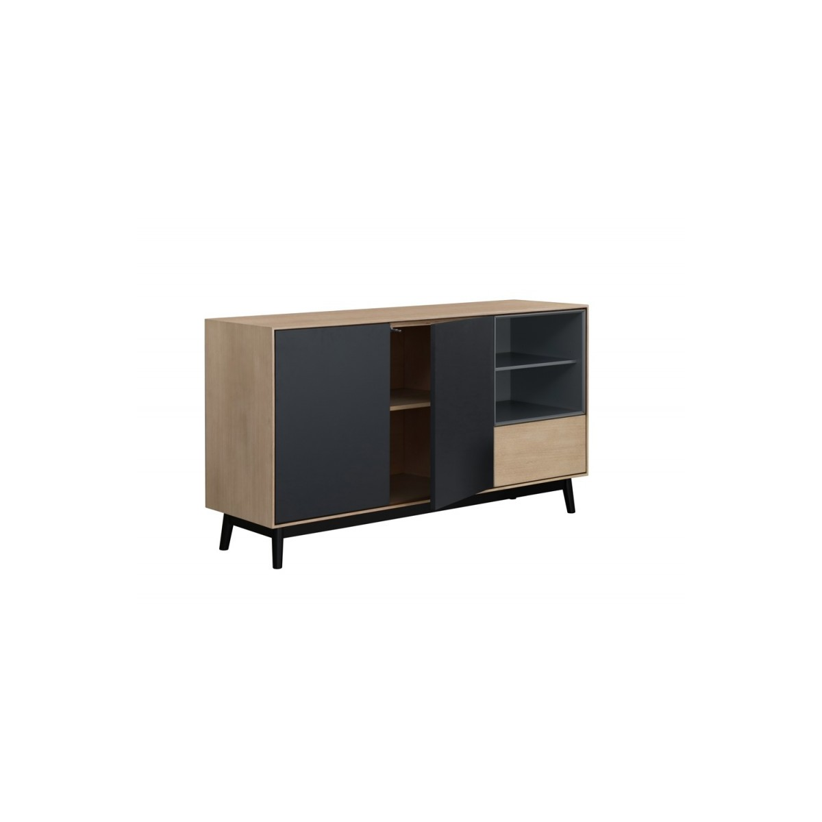 Design Sideboard Buffet 2 Doors 2 Niches 1 Wooden Drawer 150 Cm Light Oak Adamo