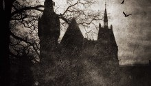 spooky castle in the shadows