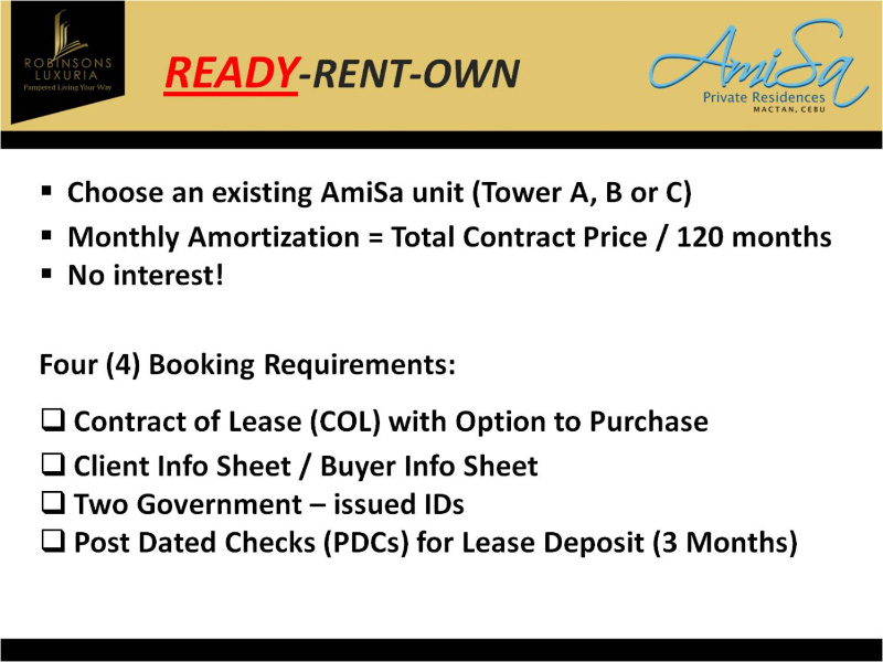 Rent to Own Condo Units in Amisa Resorts Residences - rent with option to buy contract
