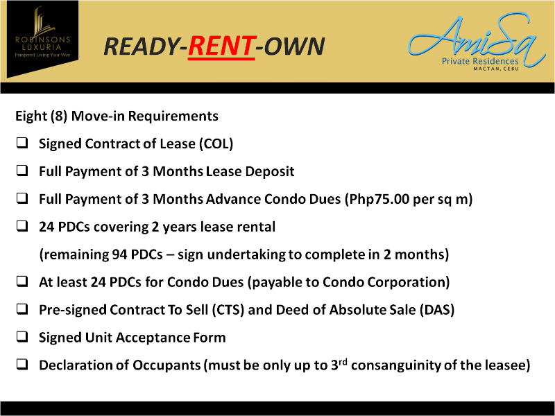 Rent to Own Condo Units in Amisa Resorts Residences - rent to own home contract
