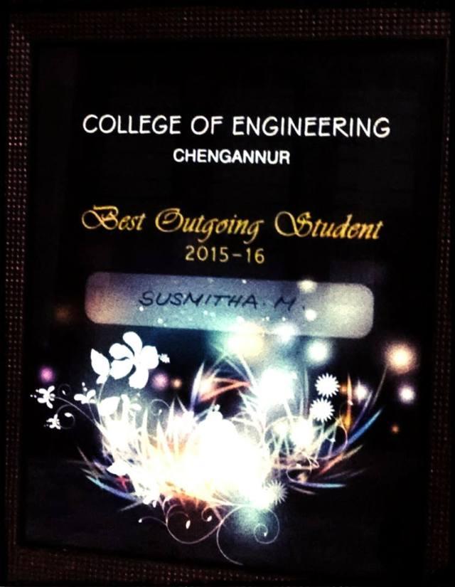 CEC Best Outgoing Student 2016 Susmitha Babu