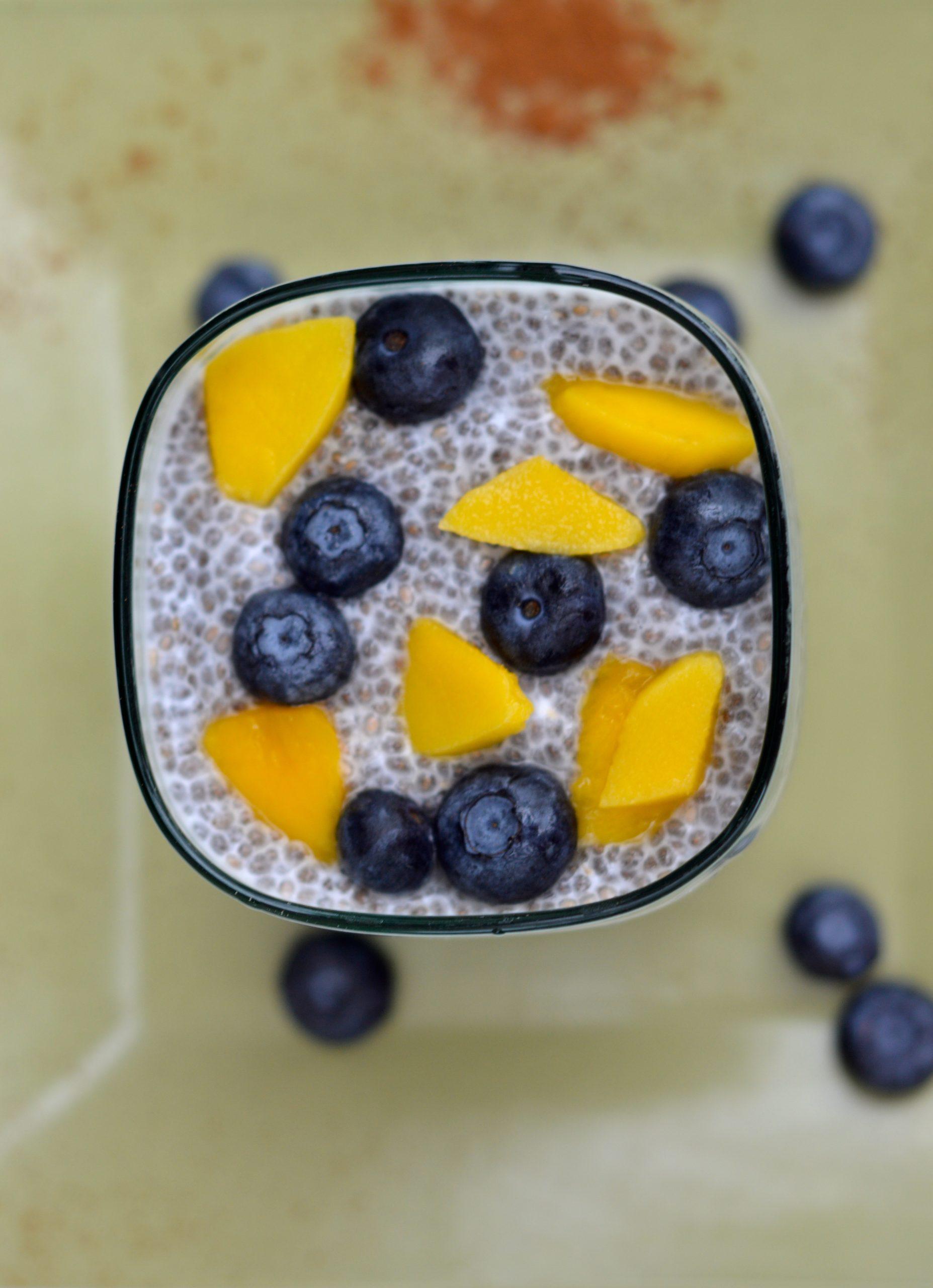 Mango Blueberry Chia Seeds Pudding
